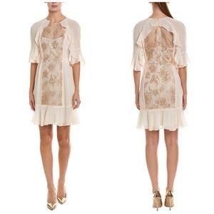 BCBGMAXAXRIA Cream Gold Embroidered Dress